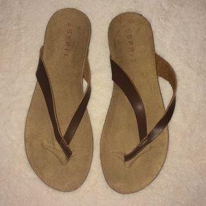 Espirit brown leather sandals. Size 9 NWT